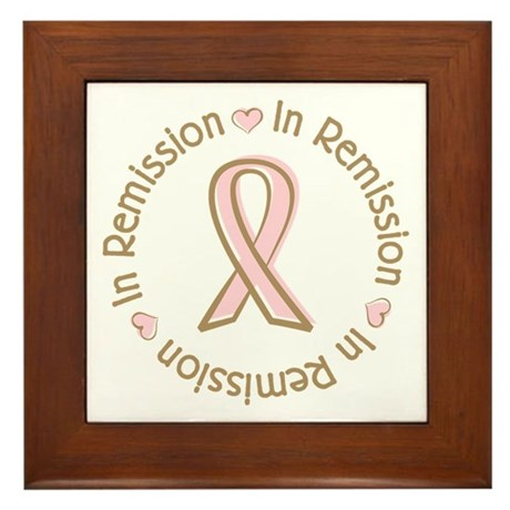 Breast Cancer In Remission Ribbon Framed Tile