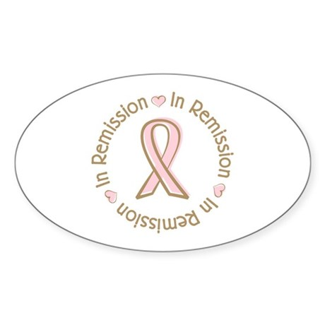 Breast Cancer In Remission Ribbon Oval Sticker