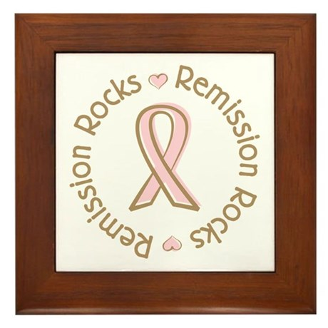 Breast Cancer Remission Rocks Framed Tile