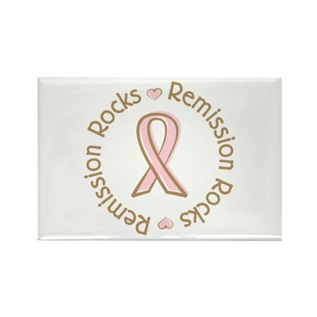 Breast Cancer Remission Rocks Rectangle Magnet