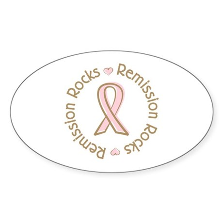 Breast Cancer Remission Rocks Oval Sticker (10 pk)