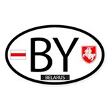 Flag & Pahonia Oval Sticker (10 pk)