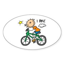 I Bike Oval Decal