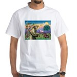 St Francis Doxie White T-Shirt