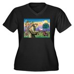 St Francis Doxie Women's Plus Size V-Neck Dark T-S