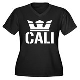 Cali King Women's Plus Size V-Neck Dark T-Shirt
