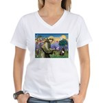 St. Francis Brindle Frenchie Women's V-Neck T-Shir