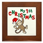 My First Christmas - Monkey Framed Tile