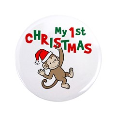"My First Christmas - Monkey 3.5"" Button"