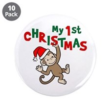 "My First Christmas - Monkey 3.5"" Button (10 pack)"