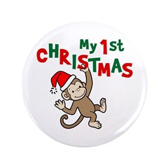 "My First Christmas - Monkey 3.5"" Button (100 pack)"