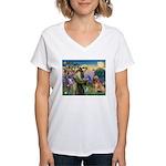 St Francis & Golden Women's V-Neck T-Shirt