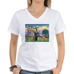 Saint Francis' Golden Women's V-Neck T-Shirt