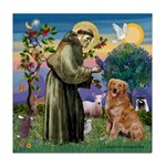 Saint Francis' Golden Tile Coaster