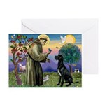 St Francis / Black G-Dane (N) Greeting Card