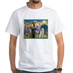 St. Francis & Great Pyrenees White T-Shirt
