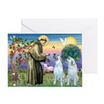 St Francis / 2 Irish Wolfhounds Greeting Card