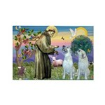 St Francis / 2 Irish Wolfhounds Rectangle Magnet