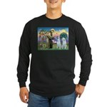 St Francis / 2 Irish Wolfhounds Long Sleeve Dark T