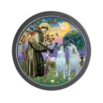 St Francis / 2 Irish Wolfhounds Wall Clock