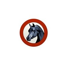 Black Arabian Stallion Mini Button