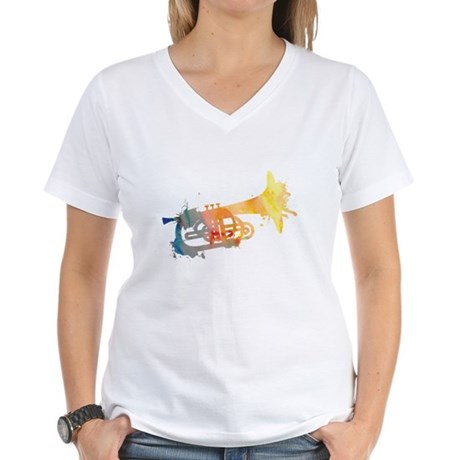 Paint Splat Mellophone Women's V-Neck T-Shirt