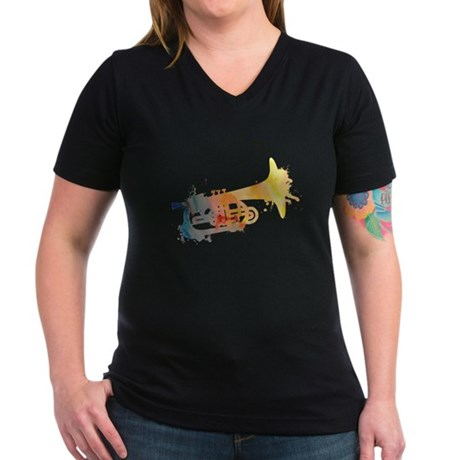 Paint Splat Mellophone Women's V-Neck Dark T-Shirt