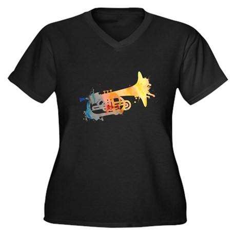 Paint Splat Mellophone Women's Plus Size V-Neck Da
