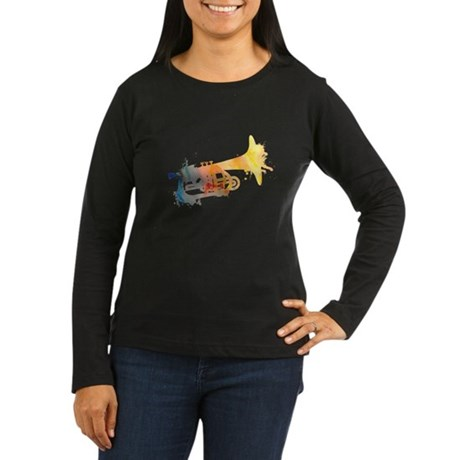Paint Splat Mellophone Women's Long Sleeve Dark T-
