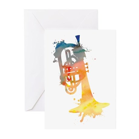 Paint Splat Mellophone Greeting Cards (Pk of 10)