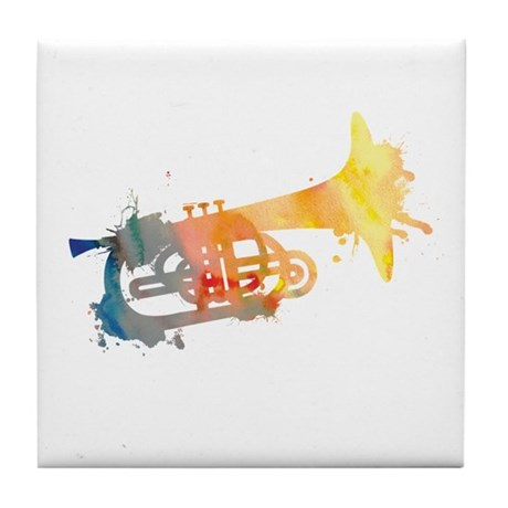 Paint Splat Mellophone Tile Coaster