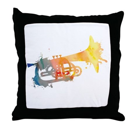 Paint Splat Mellophone Throw Pillow