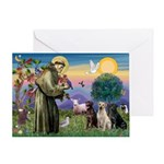 St. Francis/3 Labradors Greeting Card