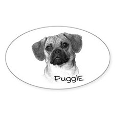 Perfect Puggle Portrait Oval Decal