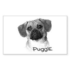 Perfect Puggle Portrait Rectangle Decal