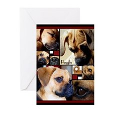 Cute Puggles Greeting Cards (Pk of 10)