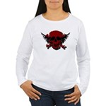 Red and Black Graphic Skull Women's Long Sleeve T-