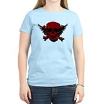 Red and Black Graphic Skull Women's Light T-Shirt