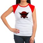 Red and Black Graphic Skull Women's Cap Sleeve T-S