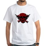 Red and Black Graphic Skull White T-Shirt