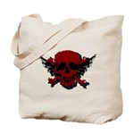 Red and Black Graphic Skull Tote Bag