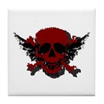 Red and Black Graphic Skull Tile Coaster