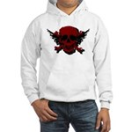 Red and Black Graphic Skull Hooded Sweatshirt