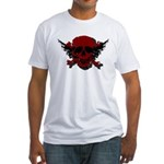 Red and Black Graphic Skull Fitted T-Shirt