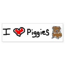 I Love Piggies Bumper Bumper Sticker