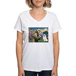 St Francis & Samoyed Women's V-Neck T-Shirt