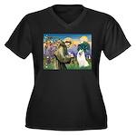 St Francis & Samoyed Women's Plus Size V-Neck Dar