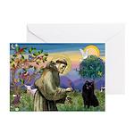 St Francis / Schipperke Greeting Cards (Pk of 10)