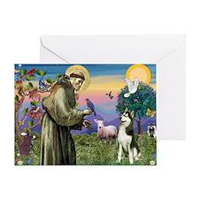 St Francis & Husky Greeting Card