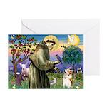 St Francis /Welsh Corgi (p) Greeting Cards (Pk of